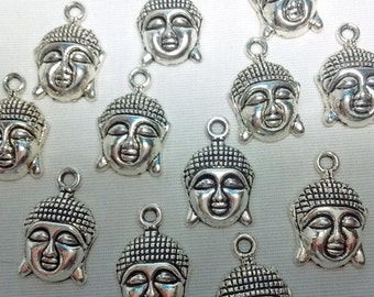 Clearance! 8 Buddha Face Charms Pendents : Jewelry Making Findings - #028