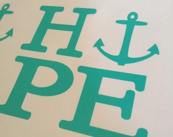 Hope Anchored Teal Decal