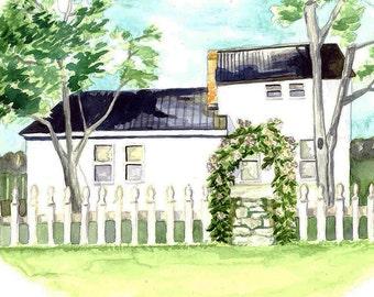"Custom Illustrated House Portrait 8x10"""