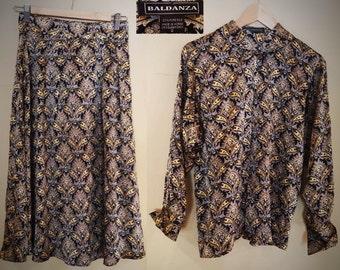 Boldanza Designer 100% Silk Skirt and Blouse Set, NEW, Size 2, Small!