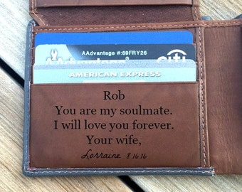 Wallet for him • Personalized custom wallet for husband • RFID wallet • gift for husband • gift for groom • boyfriend • Grey/toffee* 7751