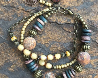 Primitive Boho Tribal 3 Strand Bracelet
