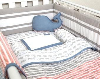 Mama Whale-Organic Crib Bedding Set, Baby Bedding, Nautical Baby Bedding, Baby Bedding, Baby Crib, Nautical Crib Set, Gender Neutral Bedding