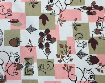 100% cotton Squirrels n nuts Fabric by the yard