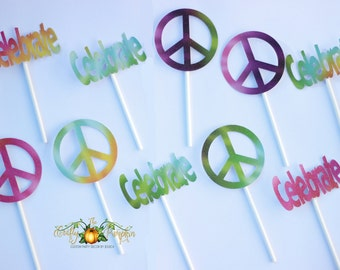 Tie Dye Cupcake Toppers, Peace Sign Cupcake Toppers, groovy theme
