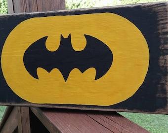 Rustic Batman Sign-Hand painted