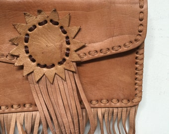 Moroccan Tan Leather Fringe Shoulder Bag