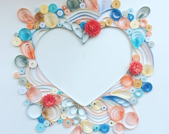 Quilled paper art, heart quilling, handmade decor
