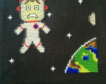 Kerbal Space Program Jeb in space Cross-stitch