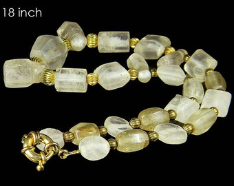 Extremely Rare Egyptian Rock Crystal Carved Hex Pendants Beads Necklace #G11127