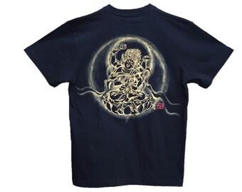 Free shipping Buddhism Zen T-shirts Aizen Myo-O Japanese Sumi-e Art black Hnadmade