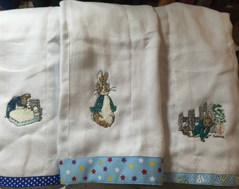 Peter Rabbit burp clothes set of three