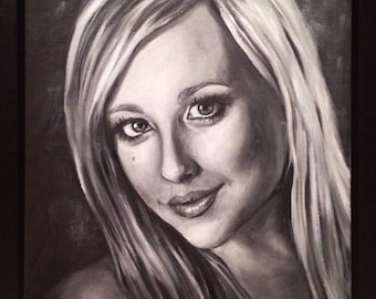 custom made black and white oil portrait painting