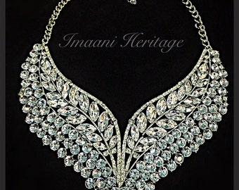 Naaz silver plated crystal necklace/ statement necklace/ crystal necklace/ necklace/ kundan jewelry/ kundan jewellery