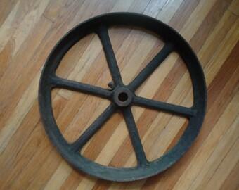 """Vintage Metal Wheel - 17"""" Old Metal wheel - Farm Primitive - Industrial decor - Large Metal wheel - Vintage metal - Metal wheel - Steam Punk"""