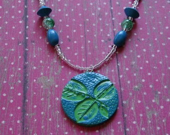 Handcrafted Artisan Polymer Clay Pendant Necklace, Statement Necklace, Pendant Beaded Necklace, Boho Necklace, Leaf Pendant, Tribal Necklace