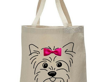 Dogs & Bow Ties: Yorkie Canvas Tote Bag, Yorkshire Terrier