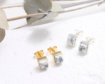 White Howlite Square Stud Earrings, Small Cube White Marble Earrings