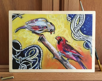 Bird Wall Art // Ready-to-Hang Print // Cardinal Pair Art