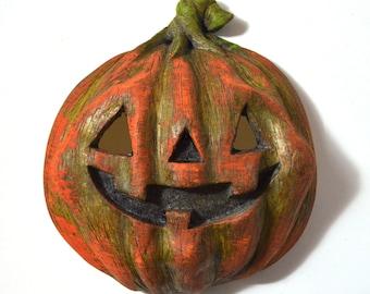 Child's Halloween Jackolantern Pumpkin Mask Handmade Handpainted