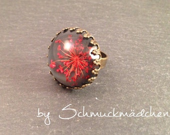 Ring bronze dill flower red