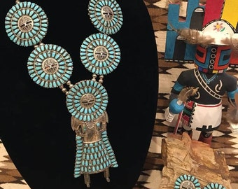 American Indian Silver Sunface Kachina Necklace and Earrings (Zuni)