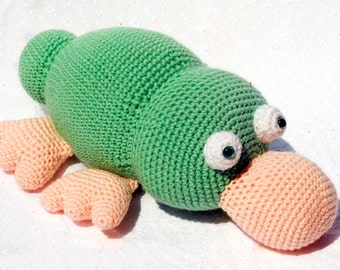 Crochet Patty Platypus, Amigurumi Stuffed Animal, Hand Made Soft Toy, Geen and Pink Plataypus with Snap On Safety Eyes