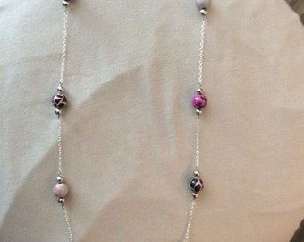 Pink beaded silver long necklace