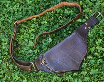 Leather utility belt boho chic, festival fashion, hip bag, hippie, waist bag, fanny pack, burning man, festival belt with pocket