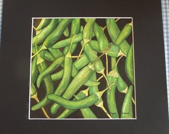 "Watercolour original ""Green Chillies"""