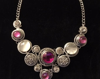 Beautiful Pink Interchageable Snap Necklace