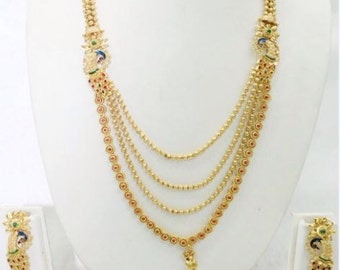 Elegant traditional Jewelry set with peacock design | South Indian Jewelry | Gold Plated Jewelry | Temple Jewelry | Muslim Jewelry