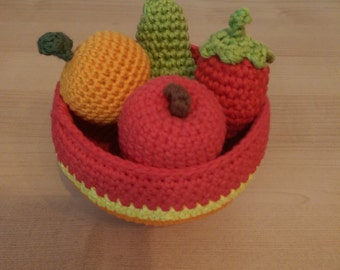 Small crocheted fruits