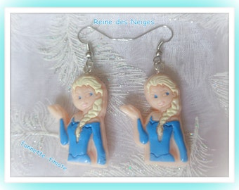 "Child ""Queen des Neiges"" Fimo polymer clay - handmade earrings (x 1)"