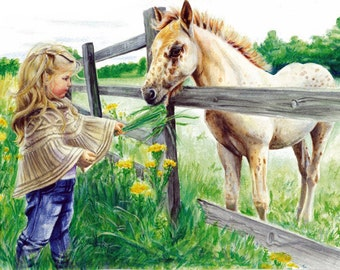 Watercolor Print, Wall Art, Girl with Pony