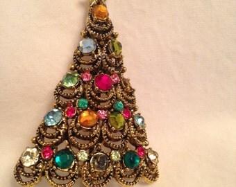 Vintage Pakula multi. colored rhinestone Christmas tree