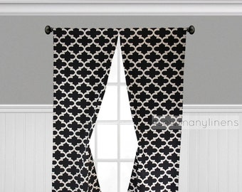 Black Curtains Quatrefoil Lattice Trellis Moroccan Black Curtain Panels Window Treatments Custom Drapes