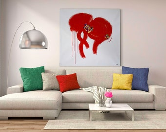 Large Abstract Painting / Red Painting / Modern Art / Extra Large Painting / Colorful Painting / Square Painting