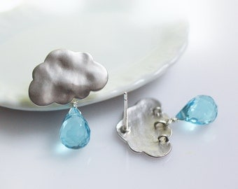 cloud earrings, gemstone cloud earrings, raindrop earrings, rain drop earrings, december birthstone, rain earrings, storm cloud earrings