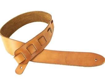 Saddle Tan Full Grain Soft Italian Leather Guitar Strap SL-115