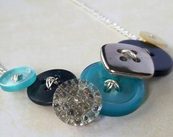 Button Necklace - Blues