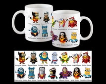 X-men Minion Coffee Mug, Funny minions of Wolverine, Storm, Colossus, Beast, Magneto, Cyclops, Scarlet, Iceman, Banshee, Angel nd more