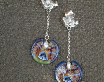Flower Earrings and Peacock