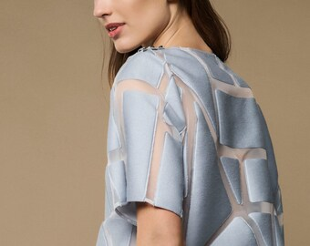 15% OFF | ICY BLUE transparent top- loose fit womens blouse. Light blue womens top. Short sleeve summer blouse.