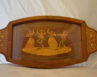 Vintage Wooden Serving Tray with Dancers Under Glass Insert and Music Box in Handle