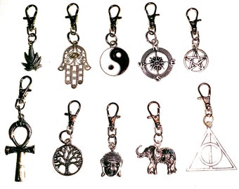 Zip Puller, Bag Clasp, Hippie, Surf, Yoga, Goth Charms