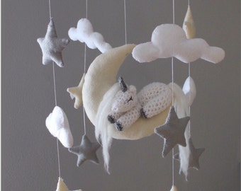unicorn baby crib mobile - grey and yellow nursery baby mobile - unicorn nursery baby mobile - unicorn nursery decor - baby mobile