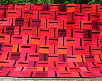 Modern red queen size quilt