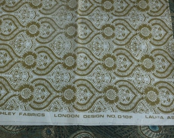 Laura Ashley upholstery fabric D10F late 60's / early 70's, medium weight 100% cotton, sage green on cream colourway