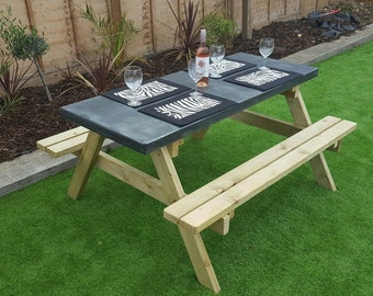 Zinc Topped 5ft Picnic Table